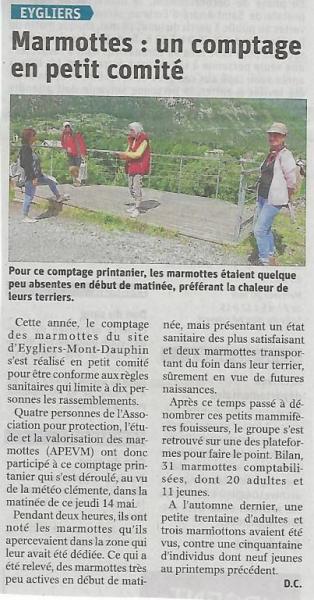 Article Dauphiné-Libéré du 17 mai 2020