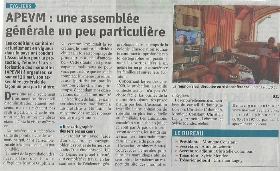 Article Dauphiné-Libéré du 2 juin 2020